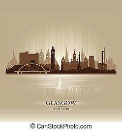 Glasgow Scotland skyline city silhouette Vector illustration