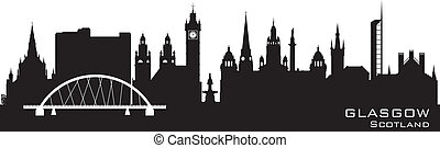 Glasgow Scotland skyline city silhouette - Glasgow Scotland...