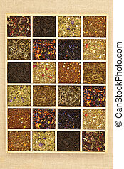 Tea collection. - Organic natural tea collection in wooden...