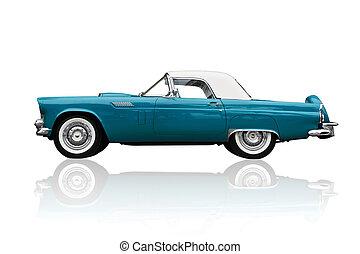 Old shiny car isolated on white - Shiny metallic old...