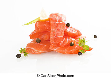 Salmon sushi - sashimi - Sashimi sushi Raw salmon pieces...
