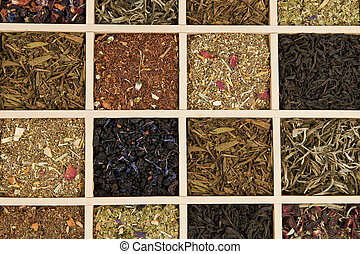 Tea variation. - Various dry tea leaves - green, black,...