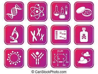 Biology science icons - set of red-violet molecular biology...