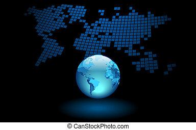 Earth background - Earth on abstract World map background....