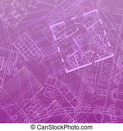 Abstract architectural background in violet colors. Vector...