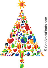 Christmas tree made of icons - Christmas tree with gifts...