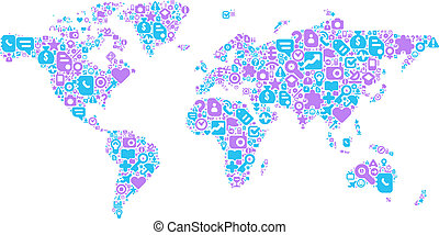 Blue and violet concept of World map - World Map concept....