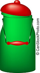 Retro can with a lid - Retro can in green design and with a...