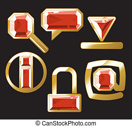 Gem icons with ruby - Ruby internet and website icons....