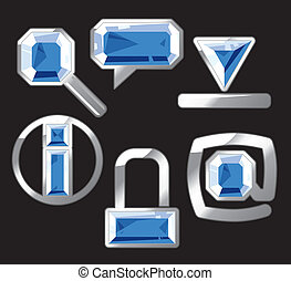 Gem icons with sapphire and silver - Sapphire internet and...