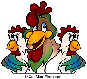 Rooster champion - cartoon illustration