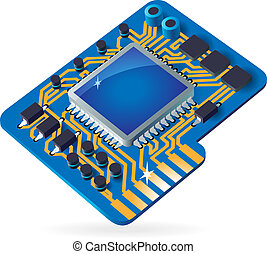 Icon of chipset - Blue computer chipset. Vector...
