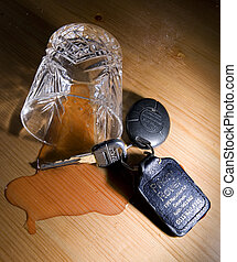 Drinking and Driving - Upturned whisky glass with spilt...