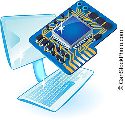 PC with chip set - Computer and chip set concept Vector...