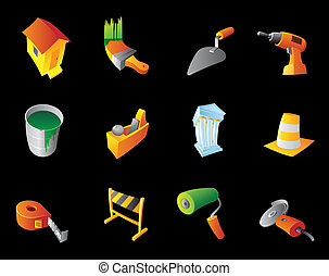Icons for construction industry, black background. Vector...