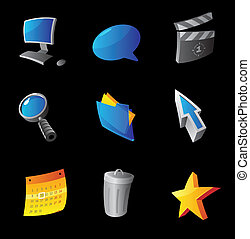 Icons for computer interface, black background. Vector...