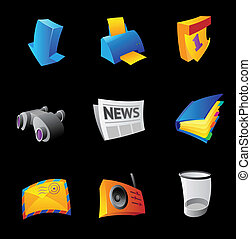 Icons for PC interface, black background. Vector...