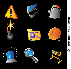 Icons for interface, black background. Vector illustration.