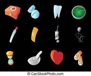 Icons for medicine Black background Vector illustration