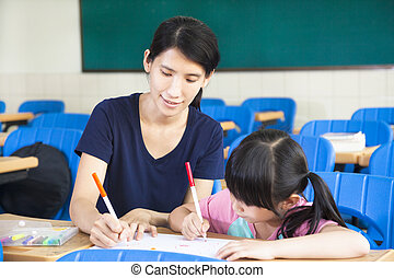 mother teaching little girl drawing picture in the classroom