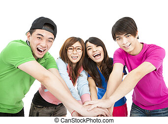 happy  young group with hand together