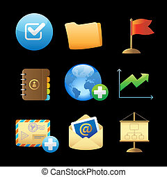 Icons for business metaphors and symbols Vector illustration...
