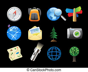 Icons for backpacking - Icons for tourism and backpacking...