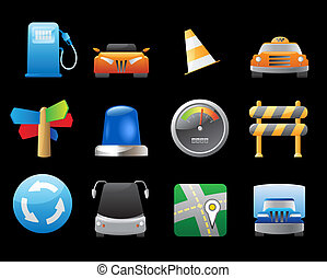 Icons for cars and roads - Icons for transportation, cars...