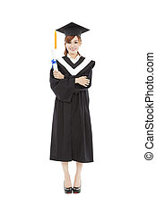 full length beautiful young graduation woman