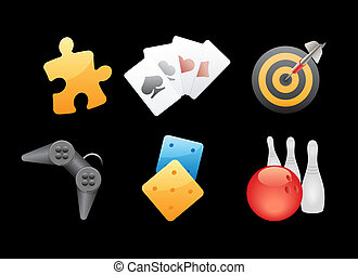 Icons for games, leisure and gambling