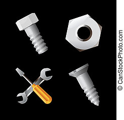 Icons for nuts and bolts. Vector illustration.