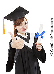 smiling Graduate woman with Degree and thumb up