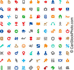 Multicolored icons and signs - Set of one hundred...