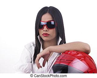 asian biker girl with a helmet - beautiful young asian biker...