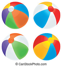 Beach ball variety - A selection of beach balls in multiple...