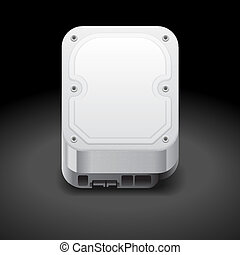 Icon for hard drive. Dark background. Vector saved as...