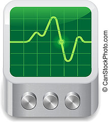 Icon for oscilloscope. White background. Vector saved as...