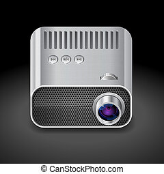 Icon for projector. Dark background. Vector saved as eps-10,...
