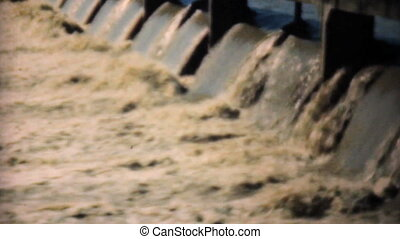 Water Pour Through Spillway In 1948 - Raging flood waters...