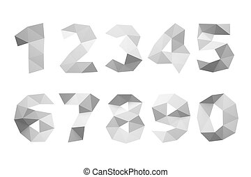 Paper crumpled numerals isolated on white background