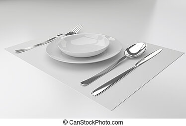 A place setting with silver fork, knife spoon and white plat