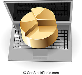 Laptop and pie-chart concept Vector illustration