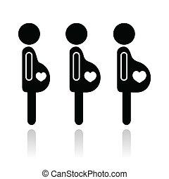 Gravidez, fases, mulher, ícones