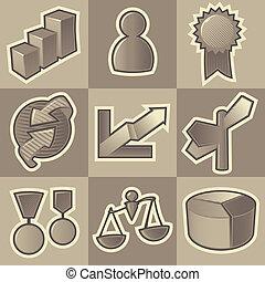 Monochrome business icons - Set of monochrome business retro...
