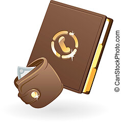 Purse and notebook Vector illustration