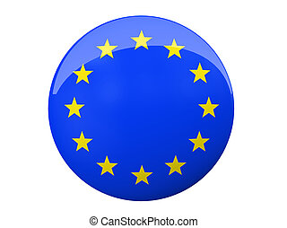 Button with EU flag isolated on background illustration