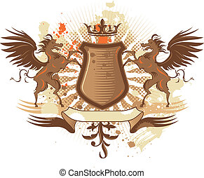 Shield with pegasus - Coat of arms with grunge elements and...