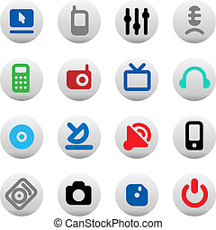 Buttons for media devices - Set of media devices' icons....