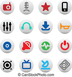 Buttons for music and sound - Set of icons for music and...