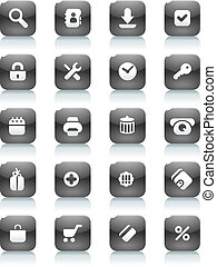 Black buttons for internet and shopping